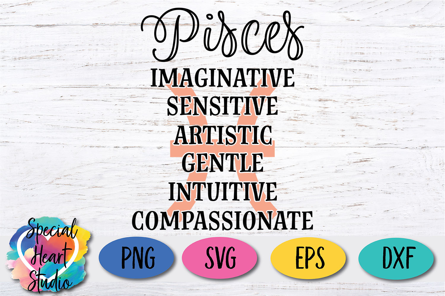 Pisces Zodiac SVG - A fun astrology SVG cut file example image 2