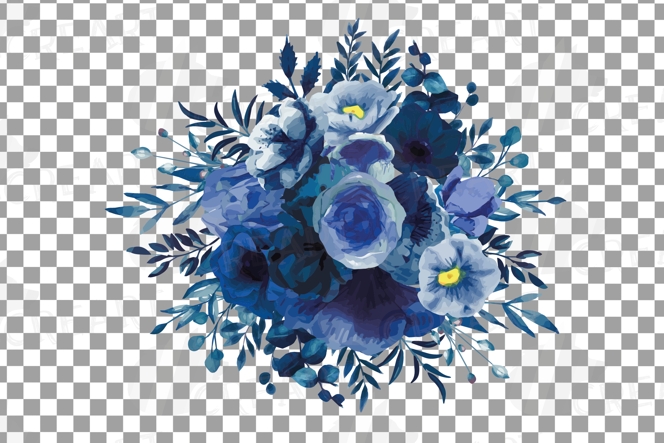 Navy blue and blush pink floral watercolor bouquets clip art example image 12