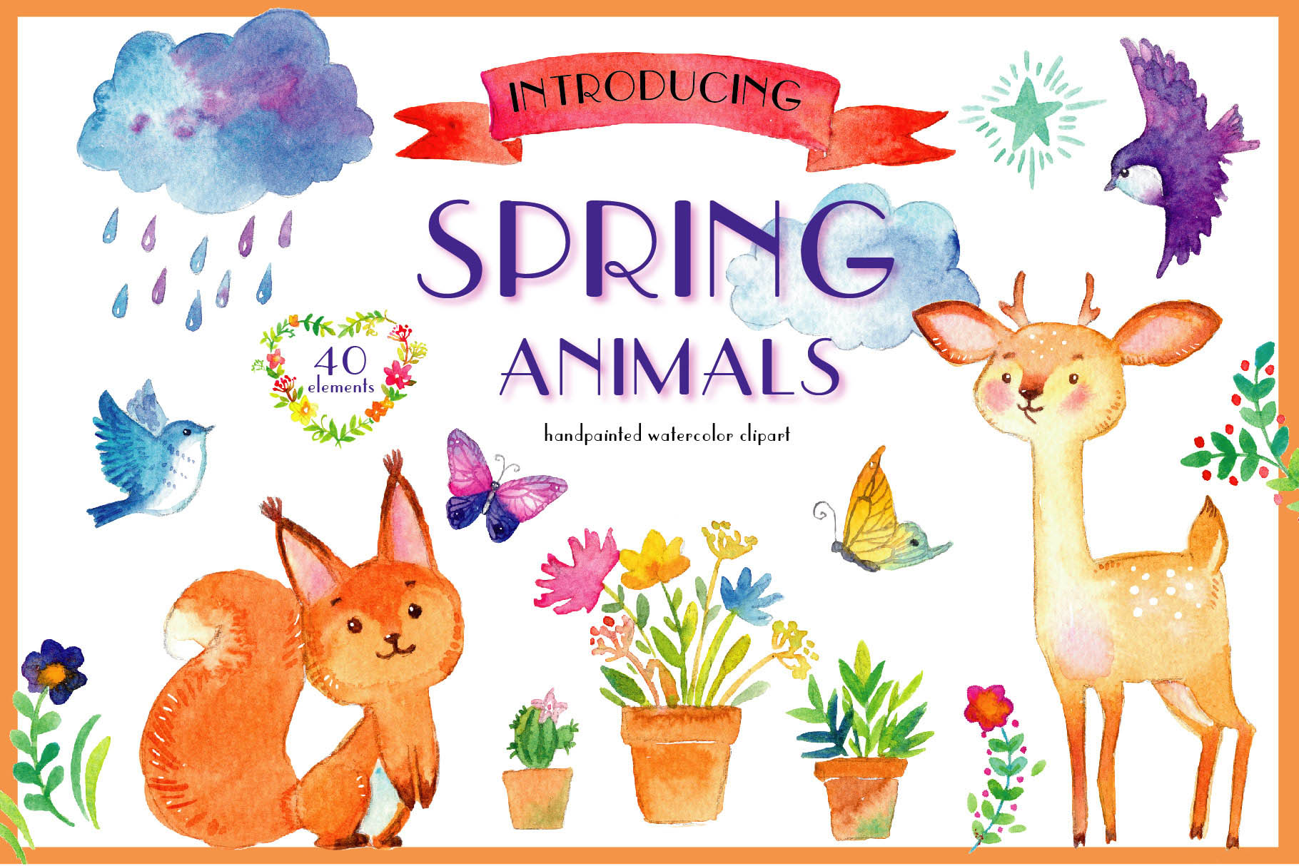 Spring animals. Deers, birds, bear, squirrel etc example image 1