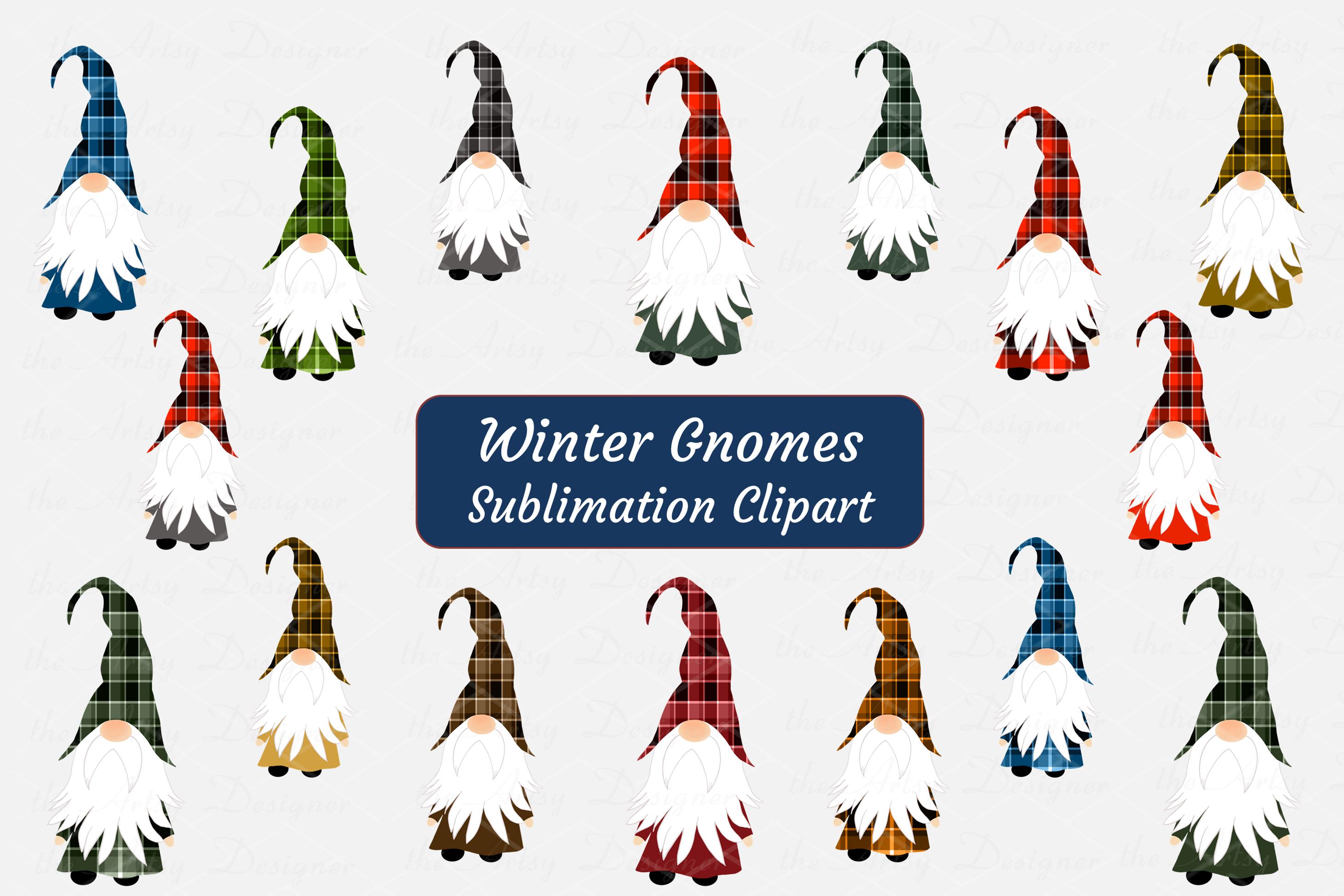 Winter Gnomes Buffalo Plaid Sublimation ClipArt Bundle example image 1