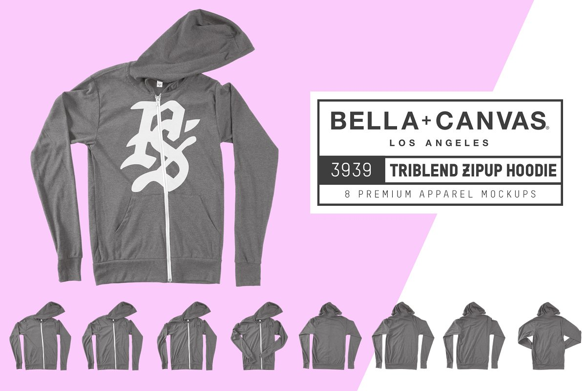Bella Canvas 3939 Zip-Up Hoodie example image 1