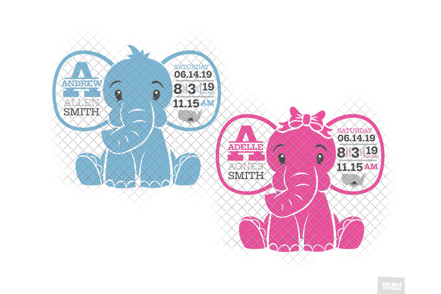 Elephant Birth Announcement SVG Ear Birth Stats Template example image 4