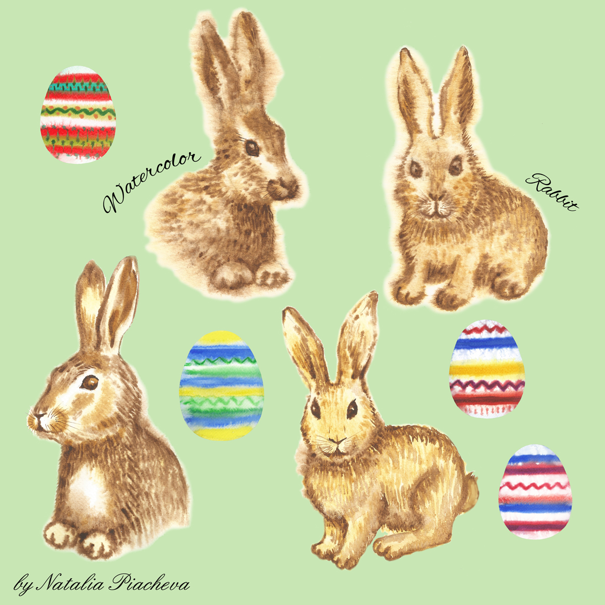 Clipart with Easter Rabbits example image 4