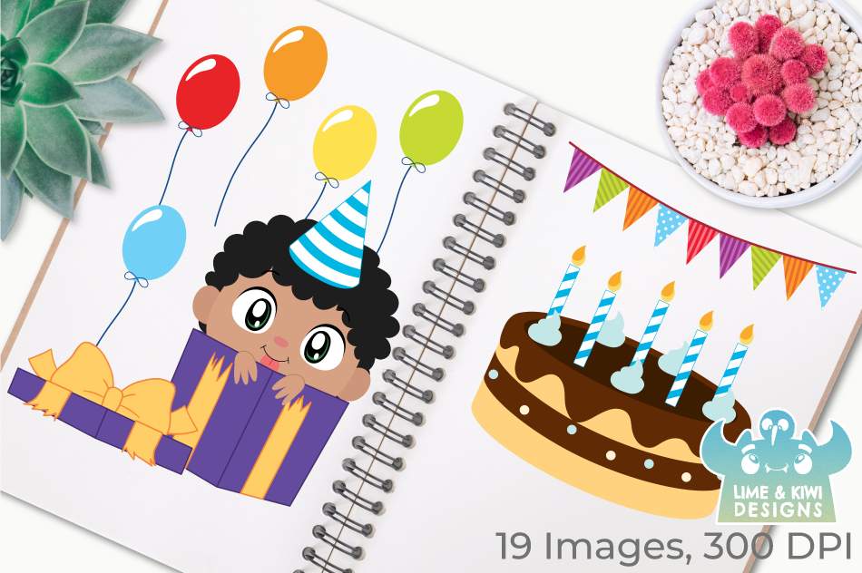 Birthday Party Boys 2 Clipart, Instant Download Vector Art example image 3