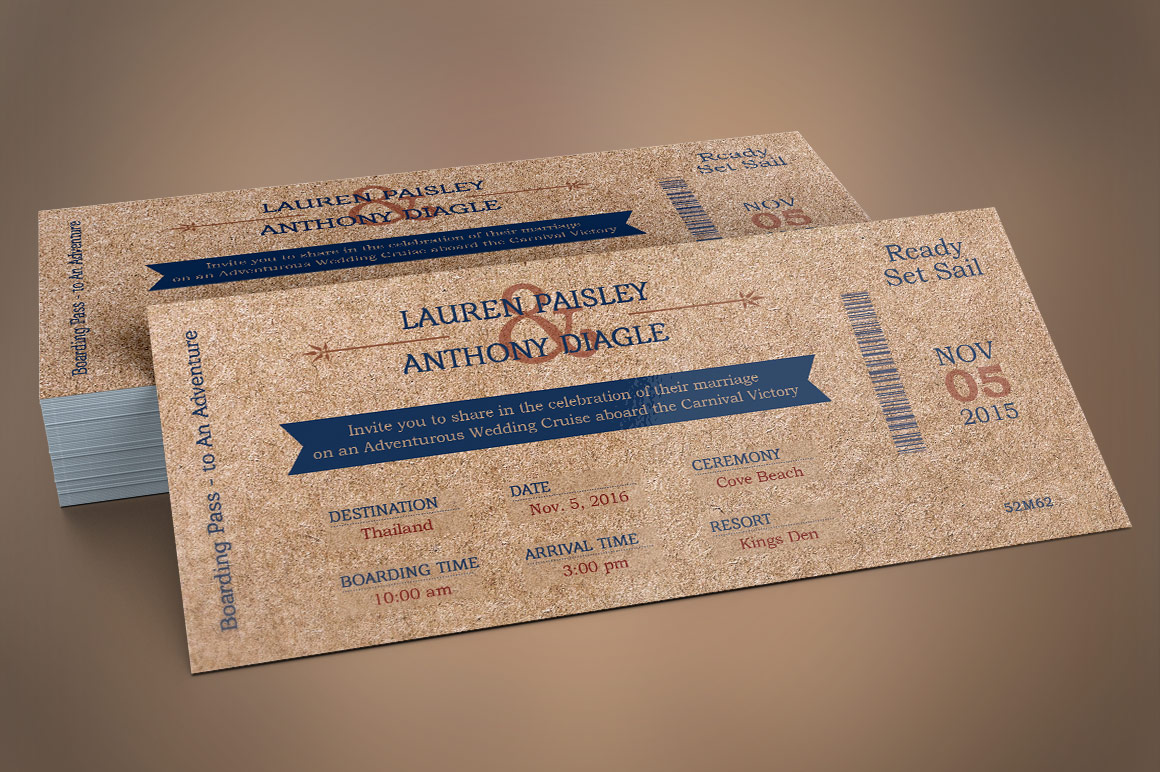 Cardboard Boarding Pass Invitation Template example image 1