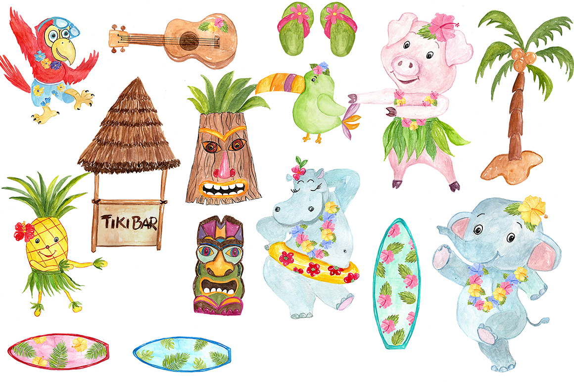 Watercolor Hawaii clipart example image 4