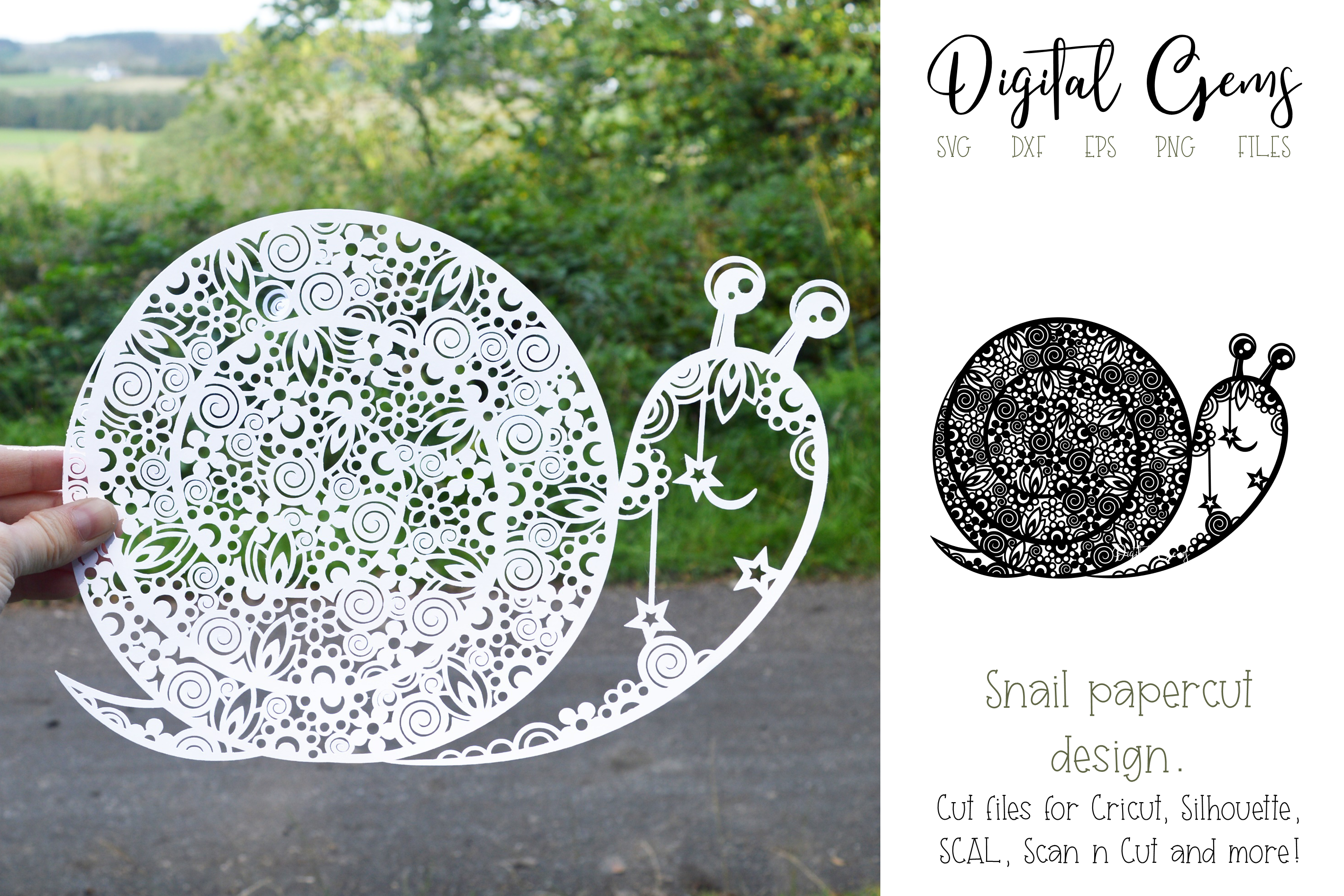 Snail paper cut design. SVG / DXF / EPS / PNG files example image 1