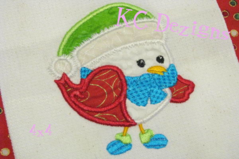 Christmas Bird 01 Machine Applique Embroidery Design example image 3