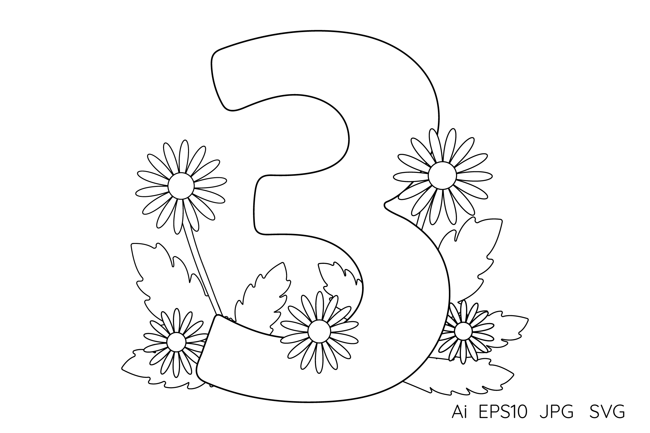 Numbers from 0 to 9. Coloring pages. example image 5
