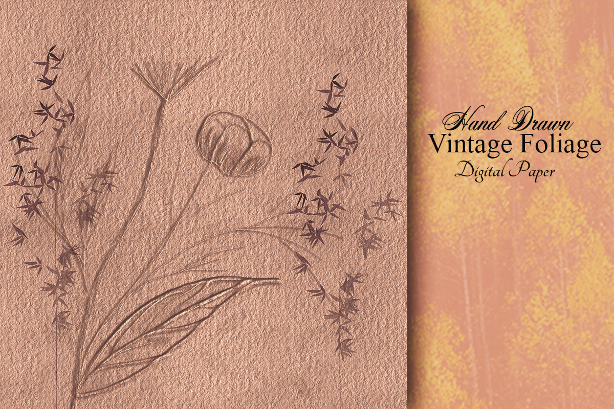 Hand drawn Vintage Foliage paper. Nature drawings artwork. example image 1
