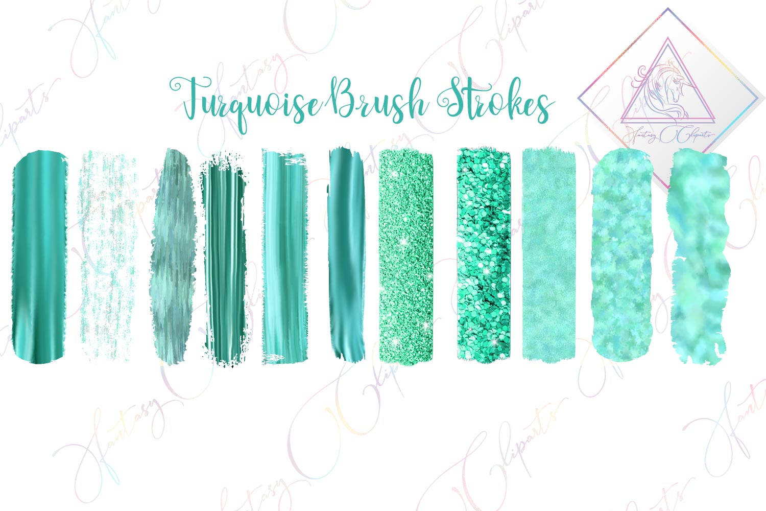 Turquoise Brush Strokes Clipart example image 1