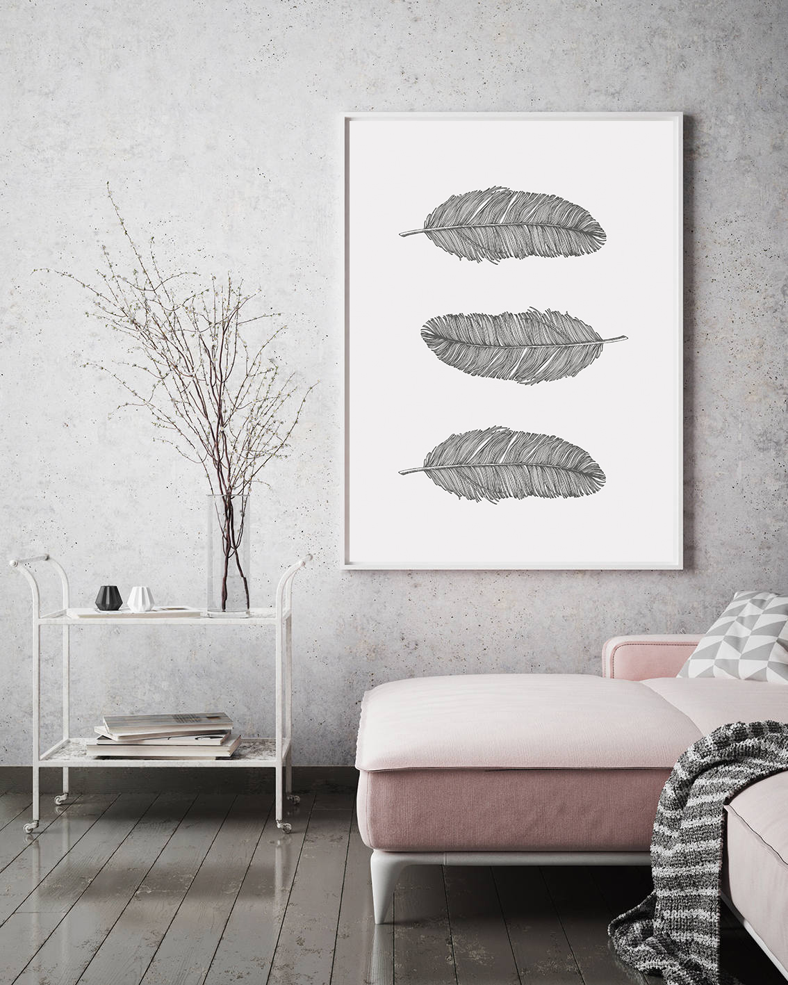 Gray Feathers Wall Art Printable, Bohemian Nursery Decor example image 4