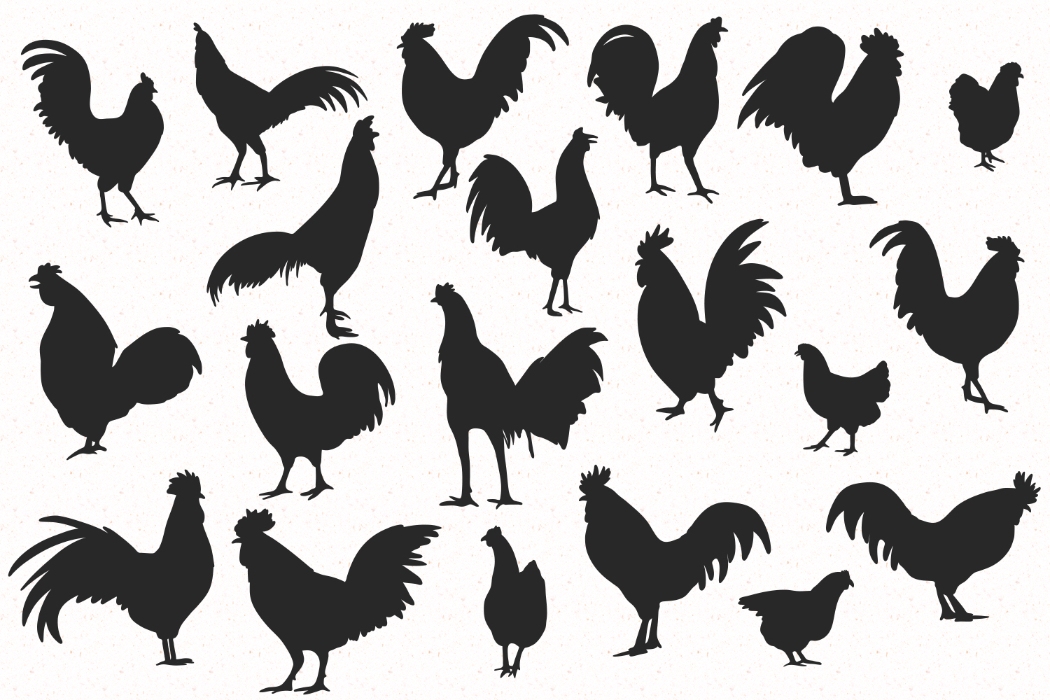 Rooster silhouette set example image 2