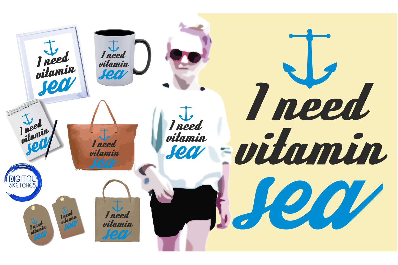 Saying Vitamin Sea Cut File Vector Graphics Illustration example image 1