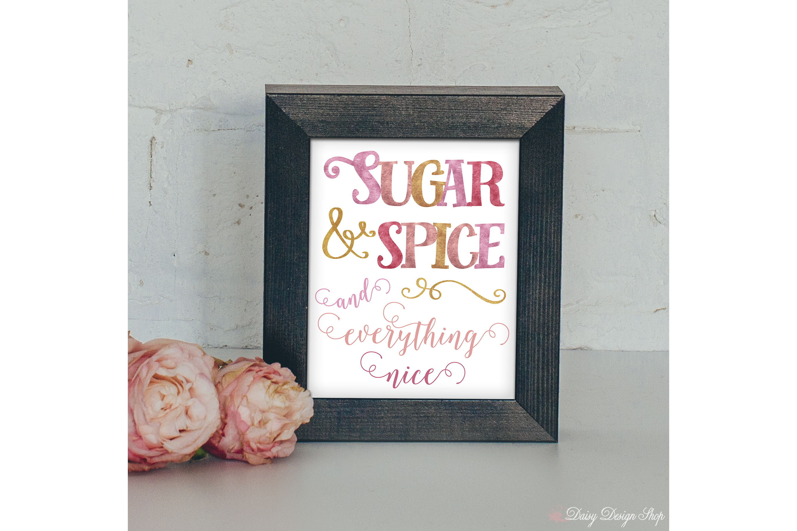 Art Print - Typography Sugar & Spice in Pink and Gold example image 1