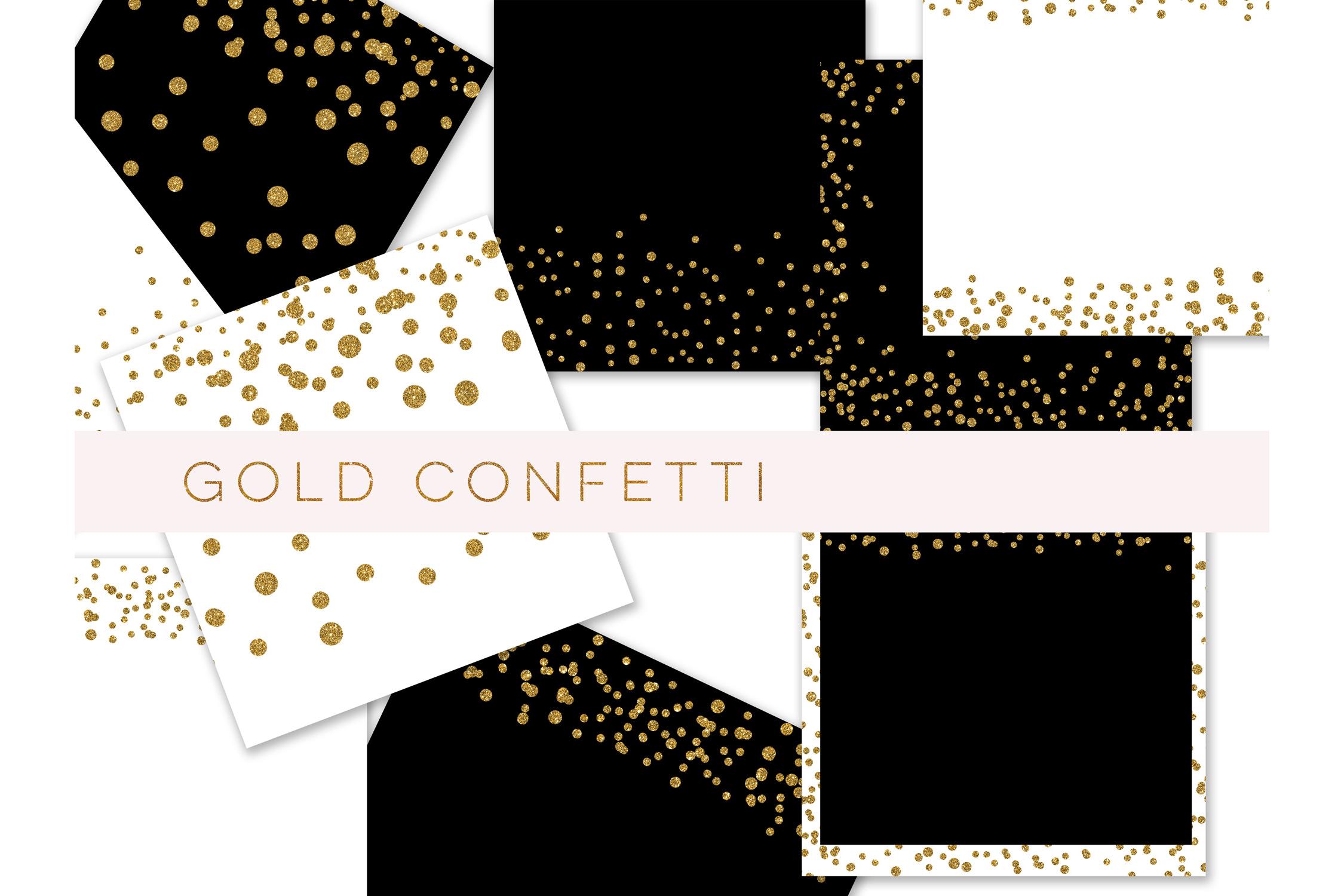 Confetti Clipart, Confetti Clip Art, Confetti Overlay, Black Gold Confetti Borders, Glitter Gold Confetti Graphics, Glitter Digital Confetti, commercial use example image 3