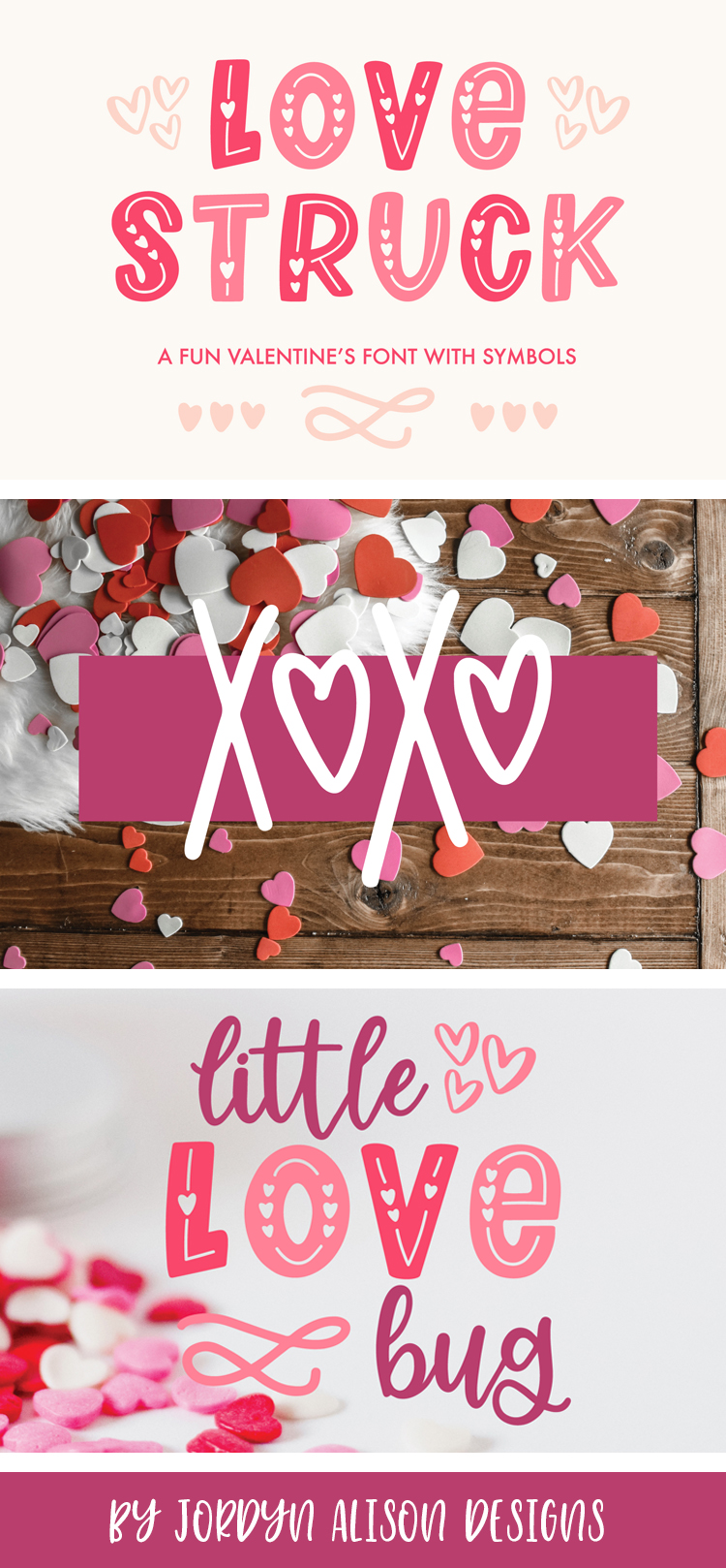 Love Struck, Thick Valentine's Heart Font example image 10
