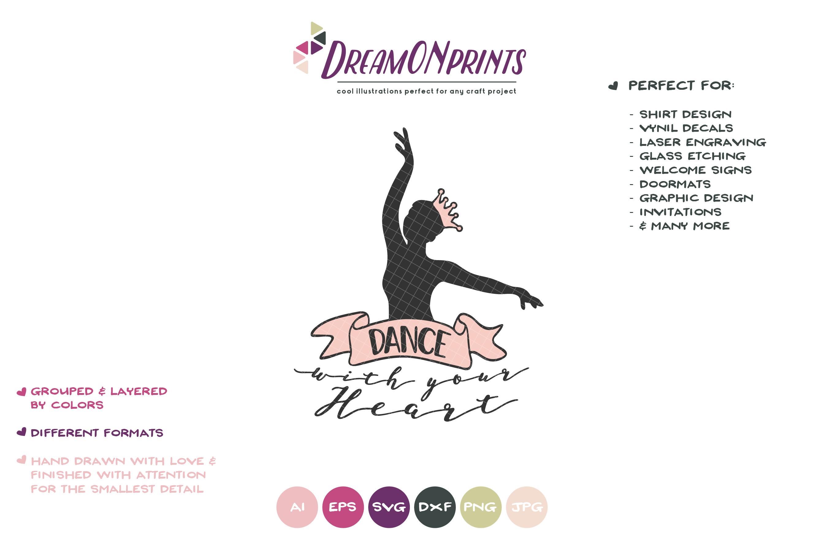 Dance with Your Heart |Ballerina SVG | Ballet Dancer example image 2