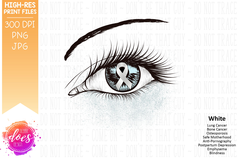 White Awareness Ribbon Eye - Printable Design example image 2