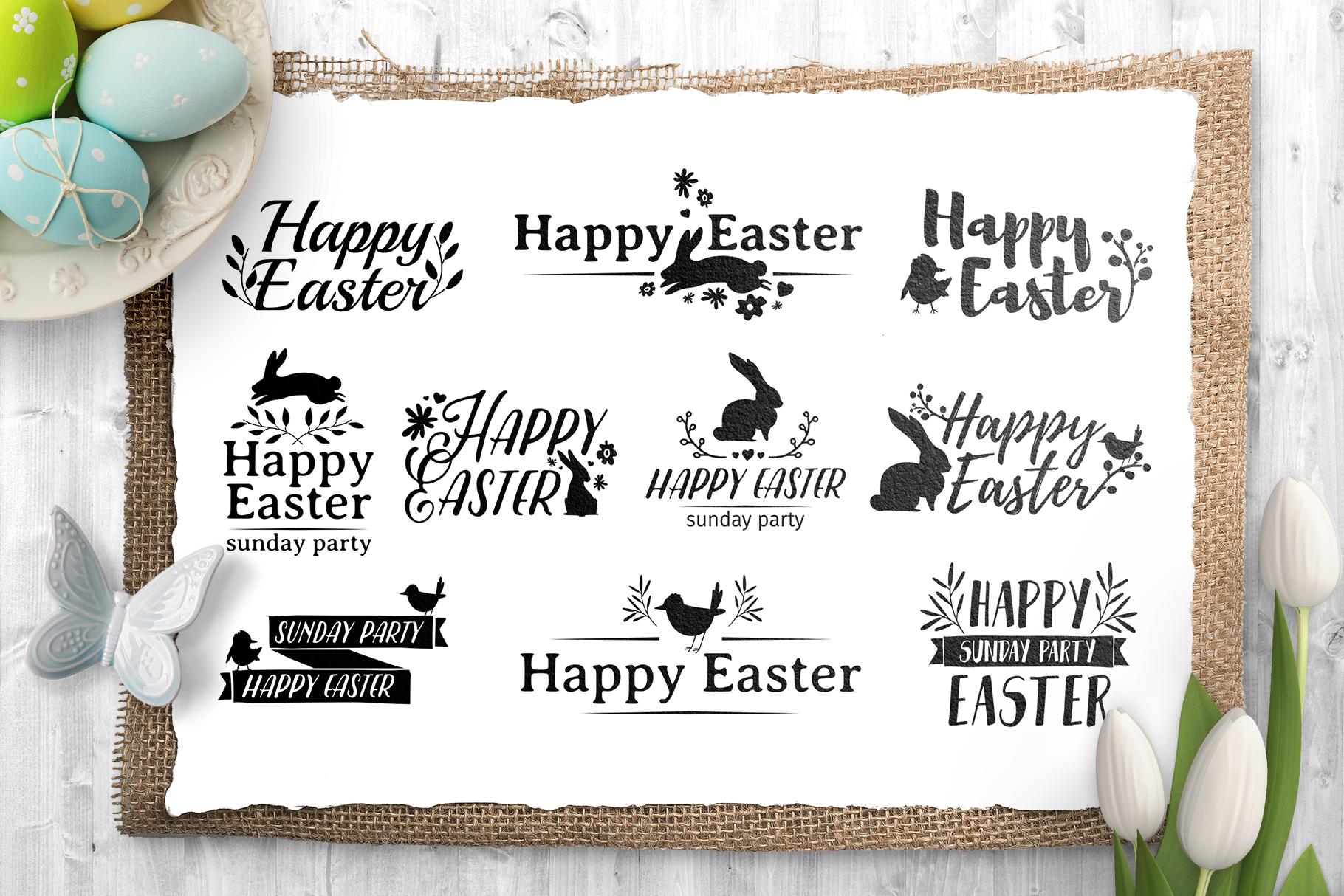 Happy Easter logo set example image 2