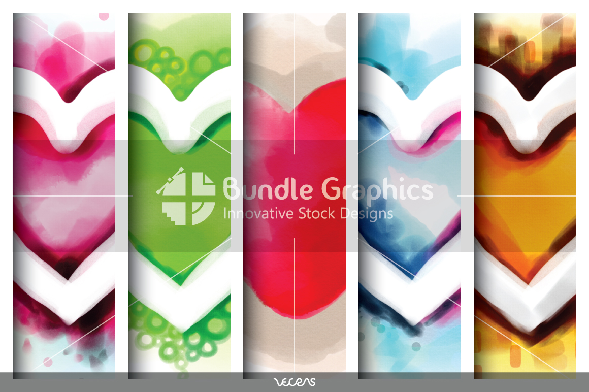 5 Artistic Digital Watercolour Heart Symbols example image 2