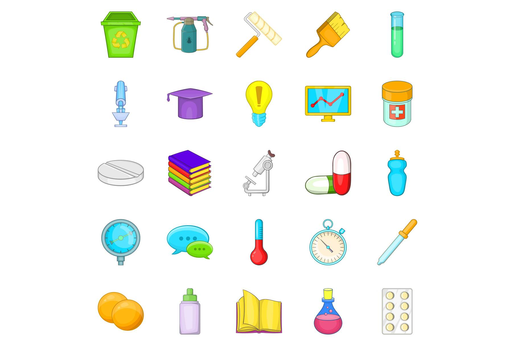 Experience icons set, cartoon style example image 1