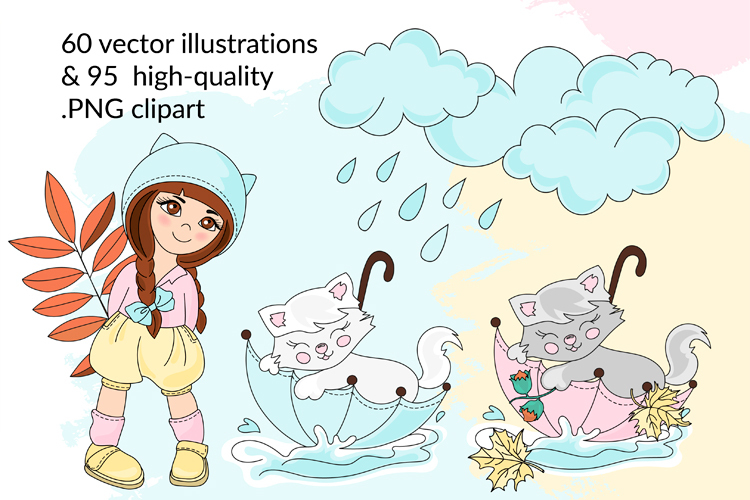 AUTUMN Vecor Clipart & Digital Print Set example image 2
