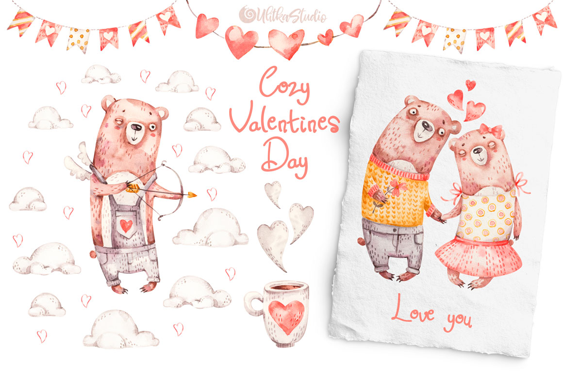 Cozy Valentines Day. Lovely bears watercolor collection example image 2