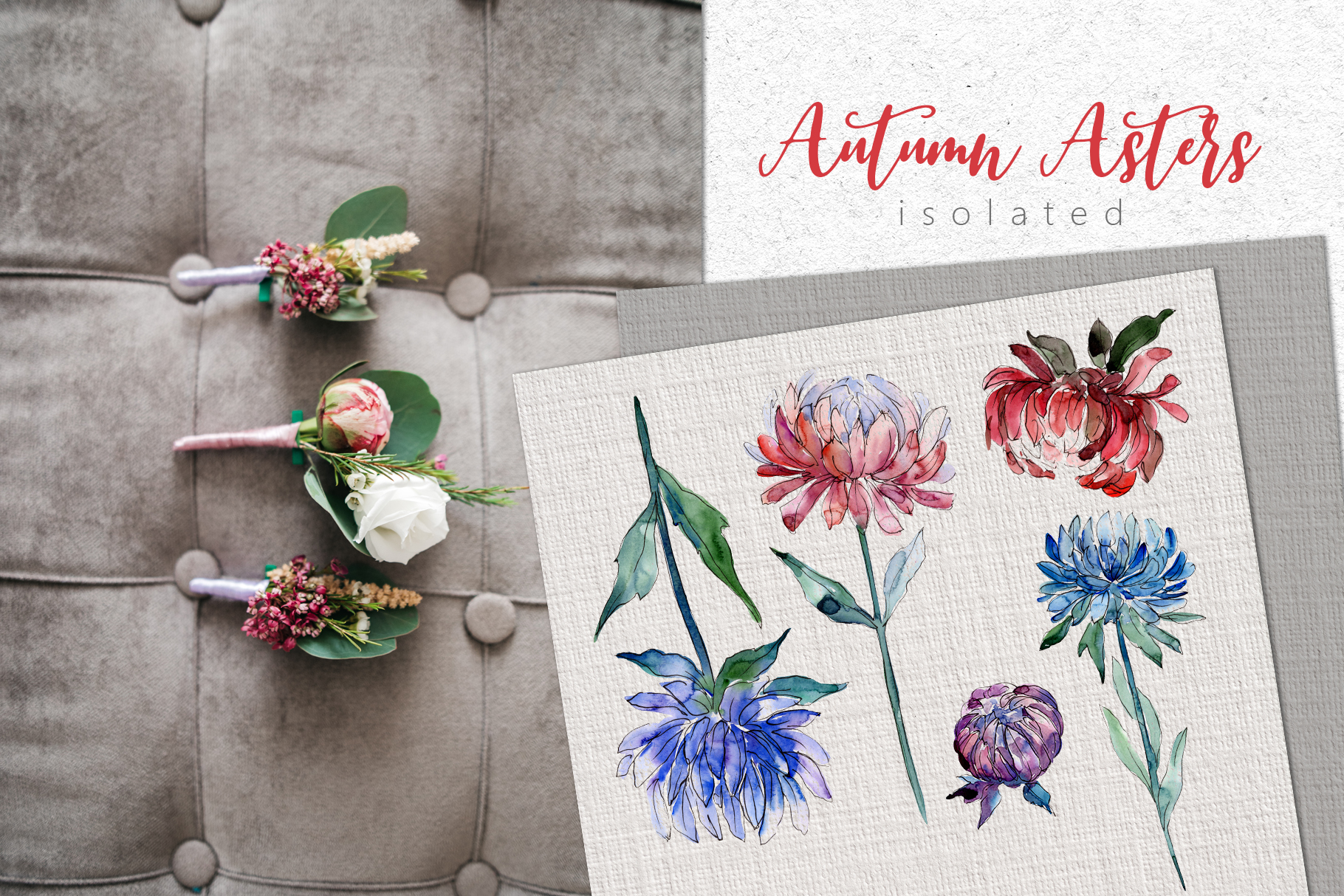 Autumn Asters Watercolor png example image 6