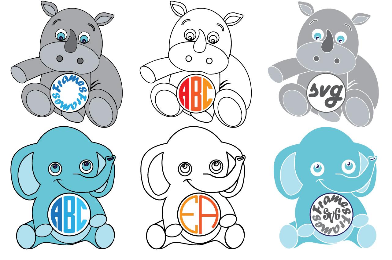 Elephant Rhino Circle Digital Safari Baby Animals 753S example image 2