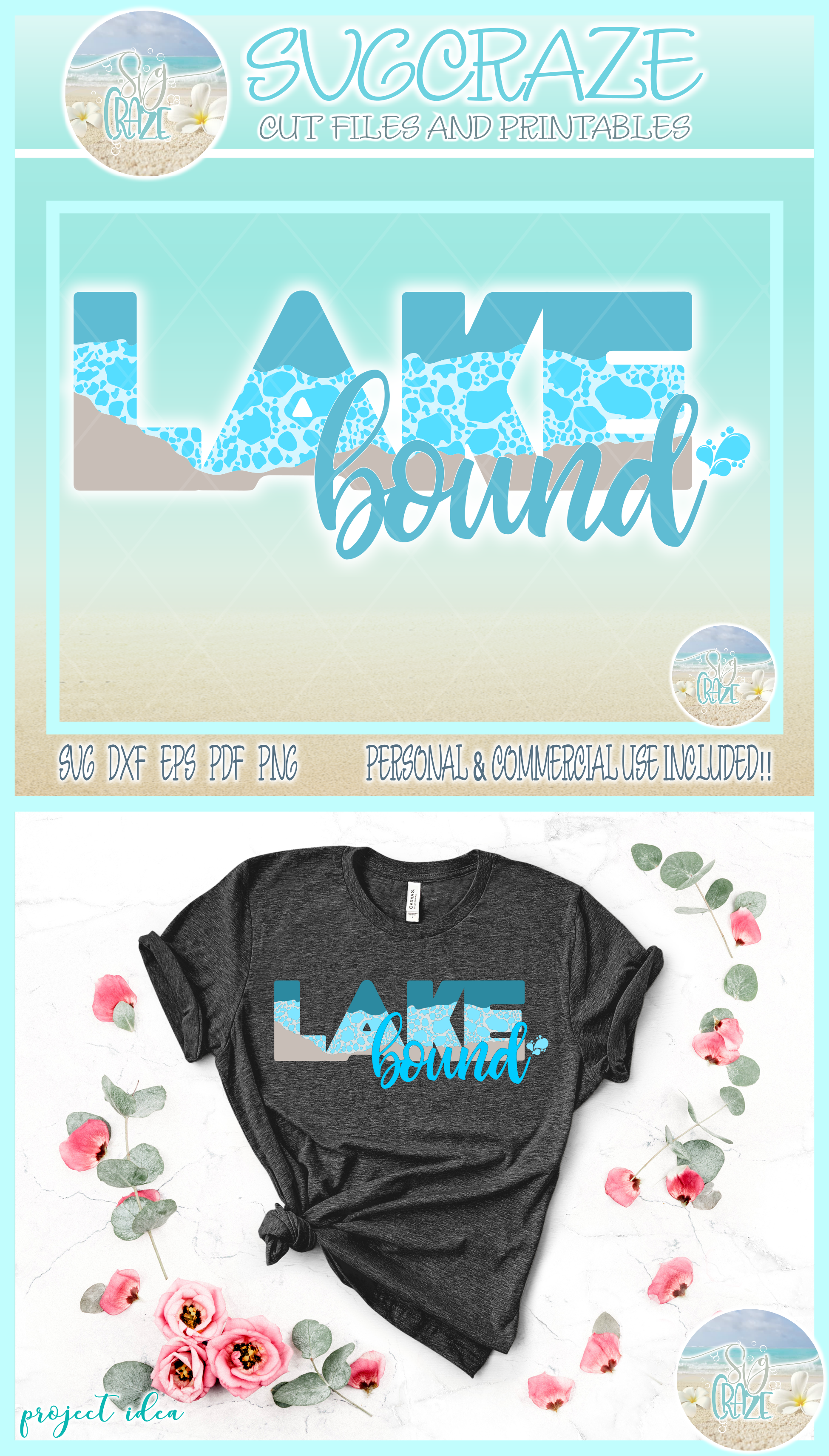 Lake Bound Svg Dxf Eps Png Pdf Files For Cricut example image 4