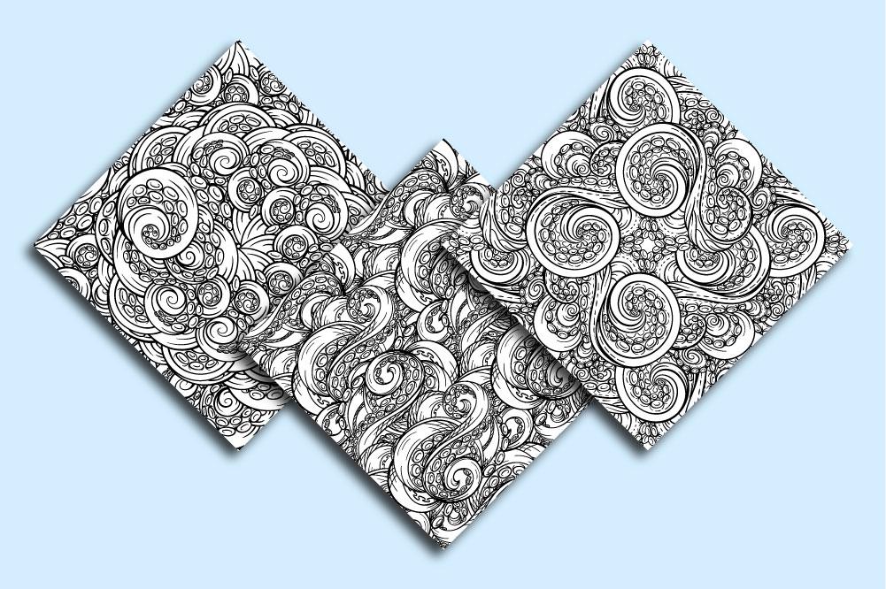 Black and white tangled tentacles patterns mini-set example image 2