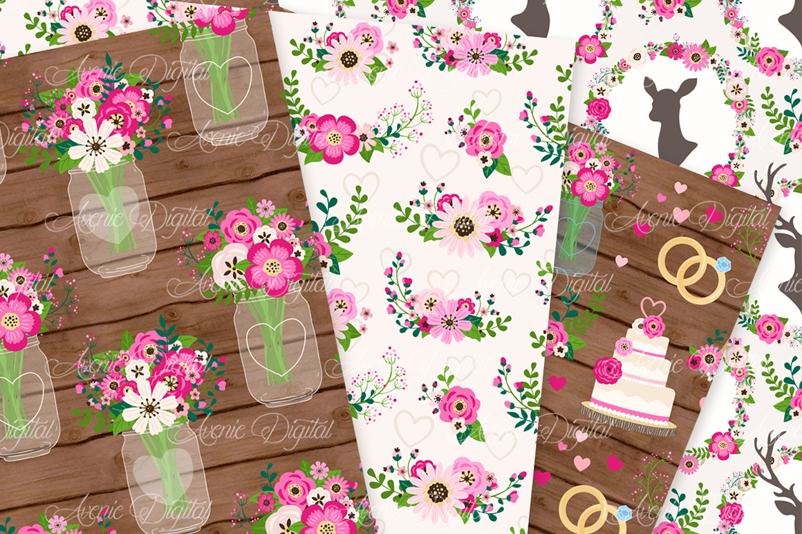 Hot Pink Rustic Wedding Digital Paper - Bright Pink Rustic Deer Wedding Seamless Patterns example image 3
