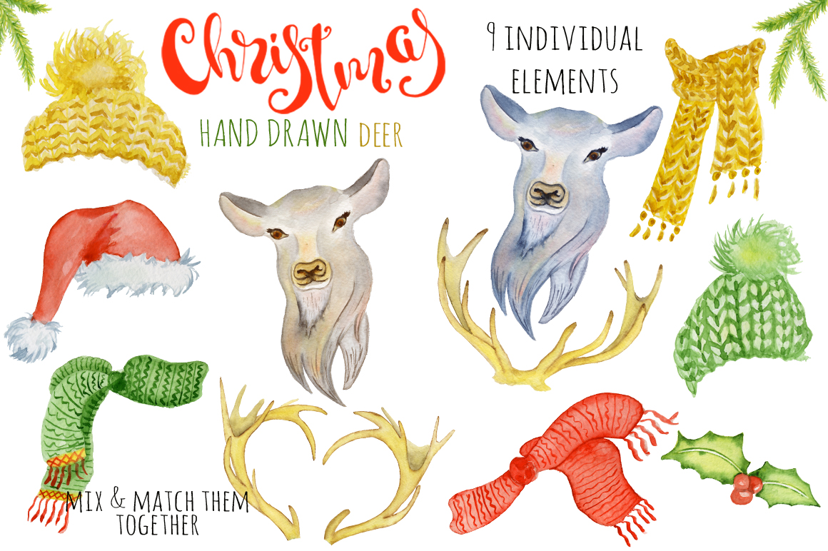 Christmas deer watercolor creator example image 2