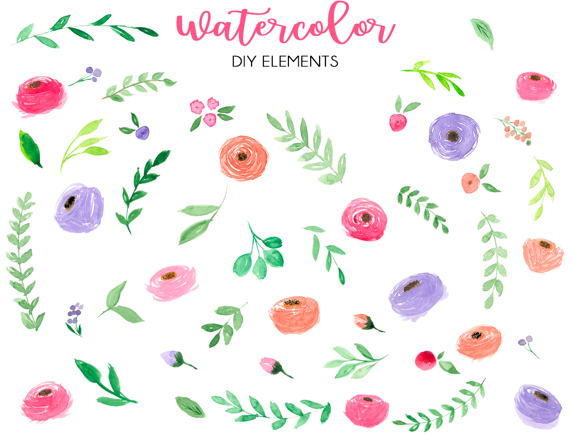 Watercolor fresh spring floral vol.2 example image 4
