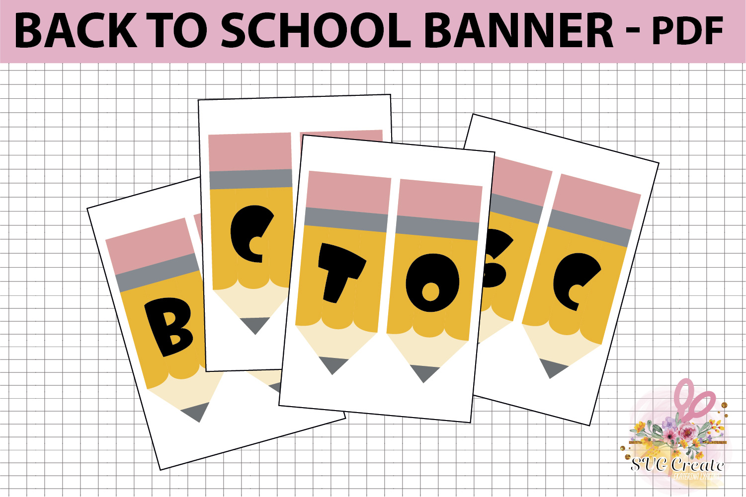 School printable banner, back to school banner example image 3