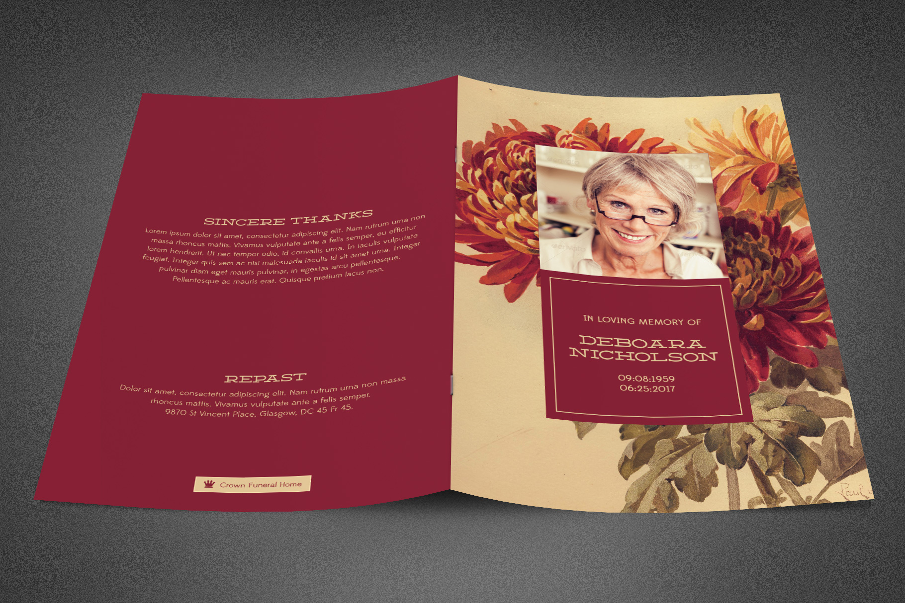 Burgundy Funeral Program Template example image 2