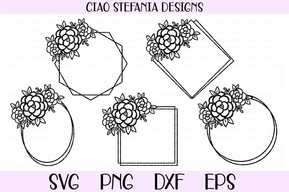 Flower Geometric Frames Bundle Wedding SVG PNG DXF EPS Cut example image 2