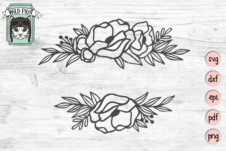 Flower Border SVG file, Split Monogram, Floral Border example image 2