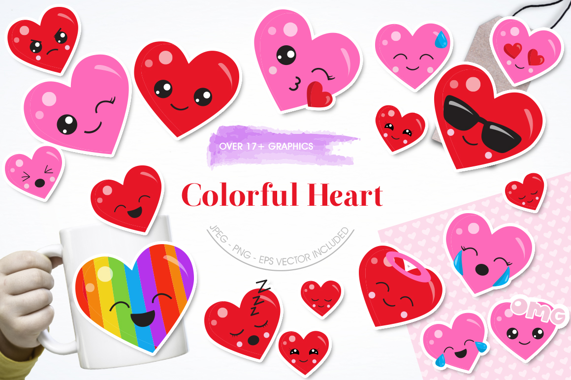 Colorful Heart graphic and illustrations example image 1