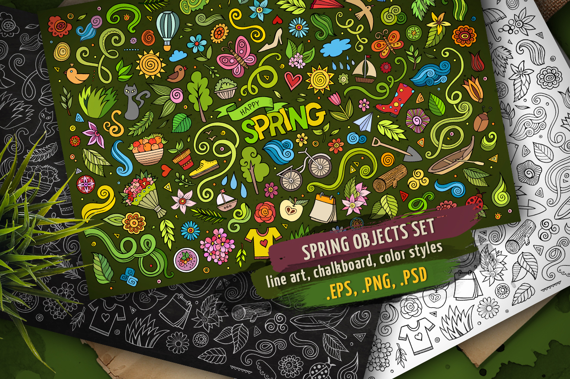 Spring Objects & Symbols Set example image 1