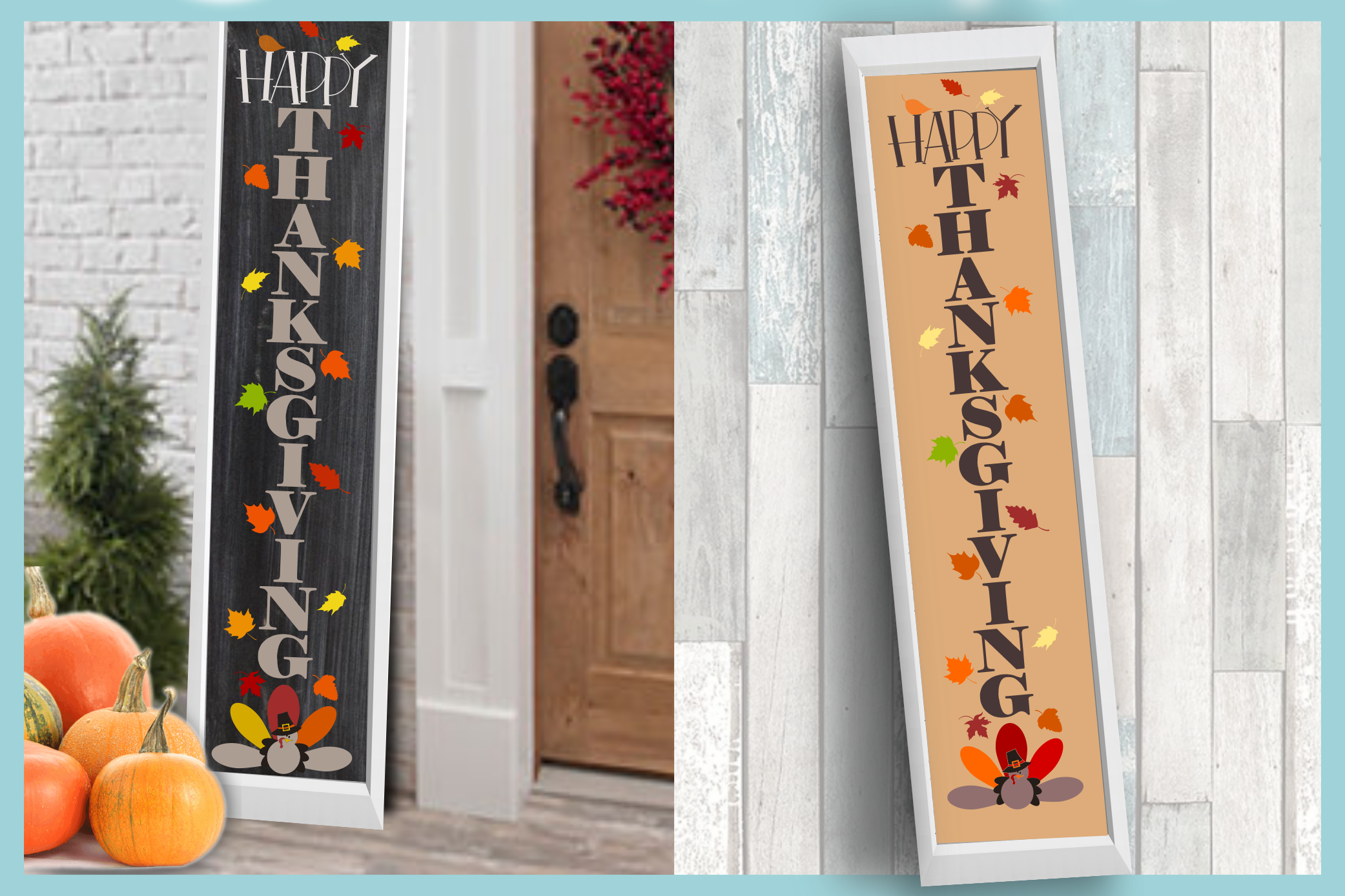 Holiday Tall Vertical Front Porch Sign Bundle SVG example image 10