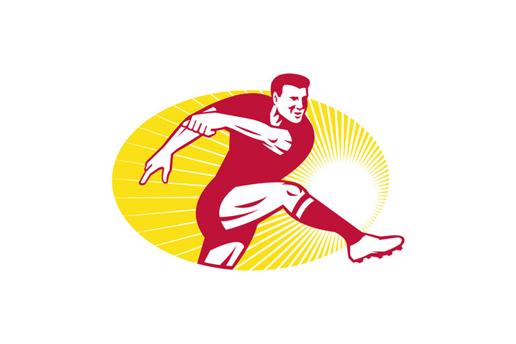 Rugby Player Kicking Ball Retro example image 1