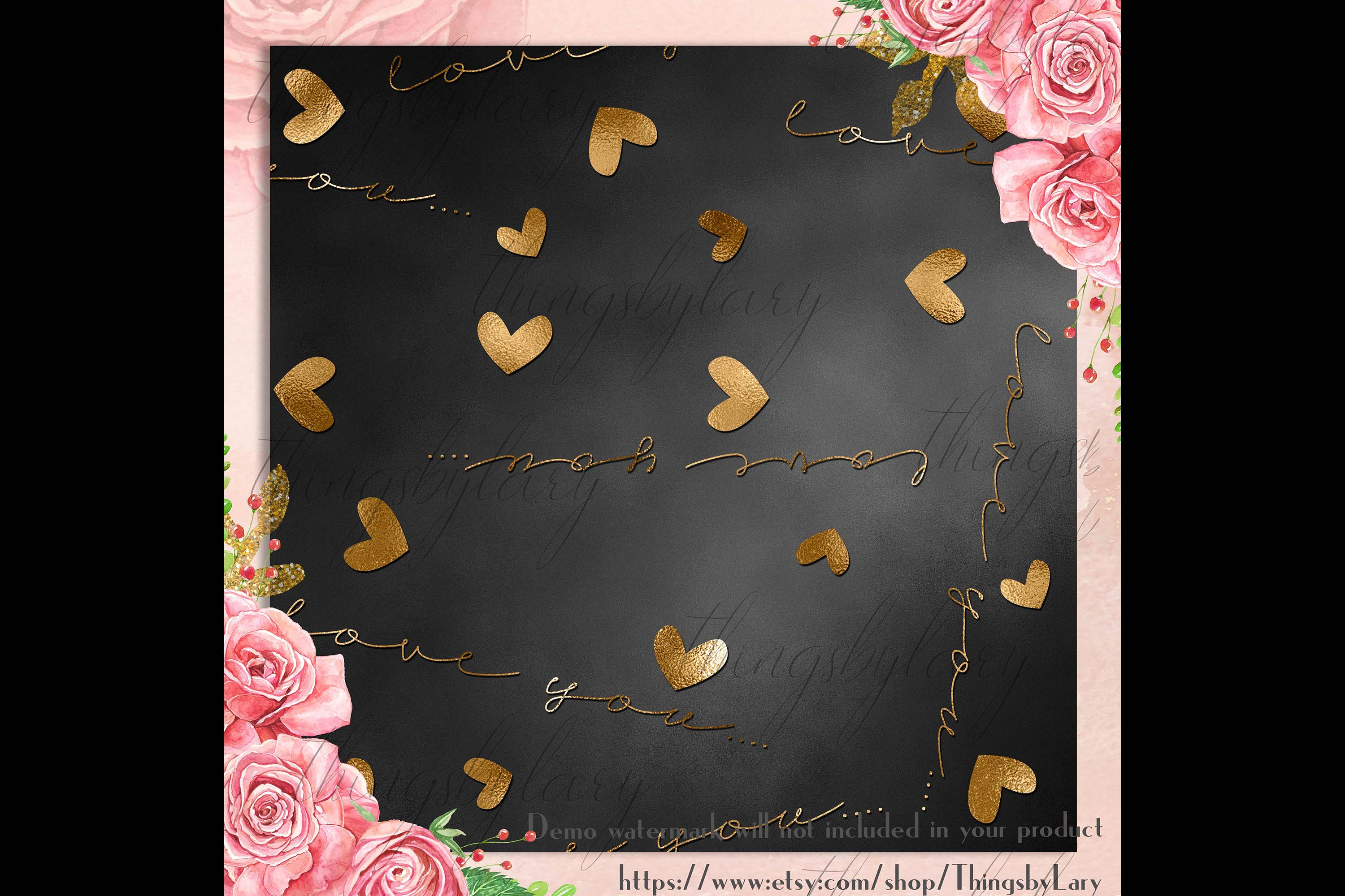 30 Black and Gold Valentine Love Heart Digital Papers Card example image 7