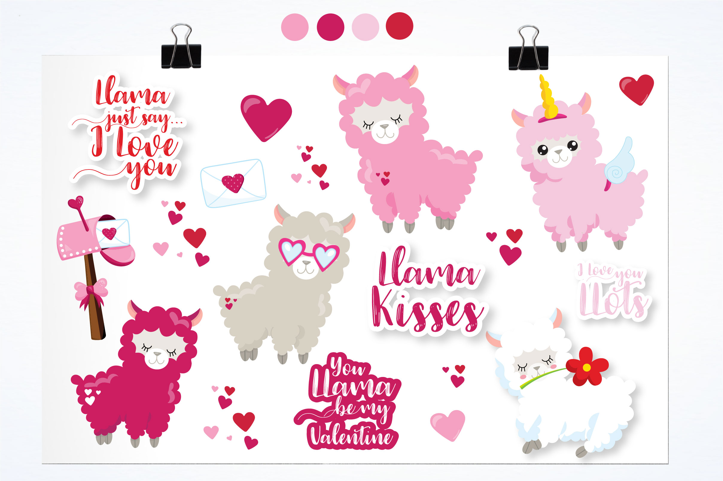 Valentine llamas graphics and illustrations example image 3