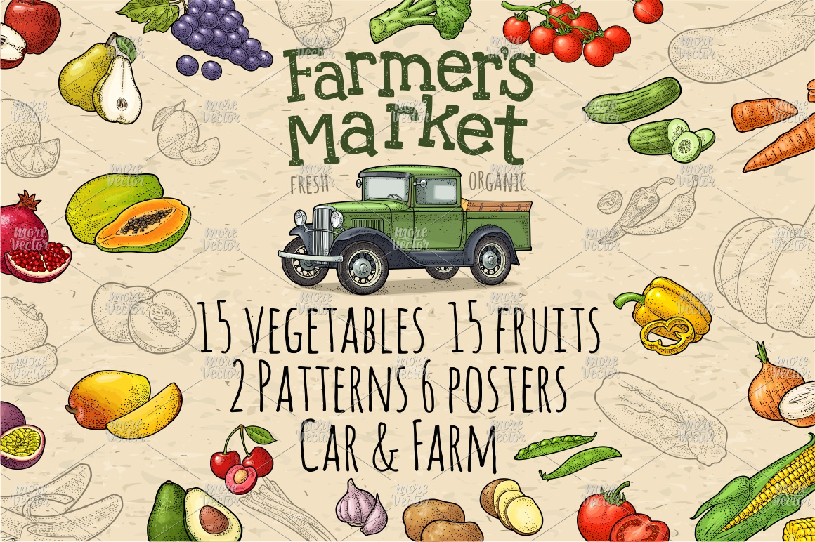 Farmers market. Set vegetables and fruits. Vector engraving example image 1