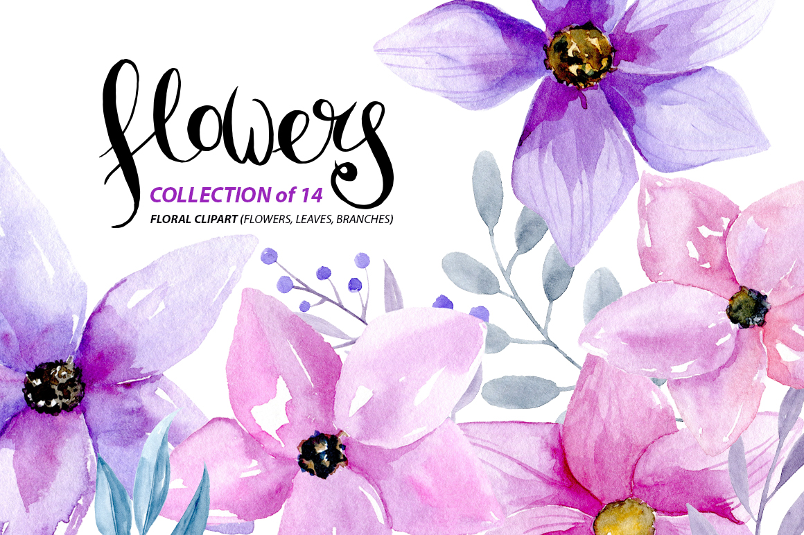Watercolor purple & pink flowers example image 1