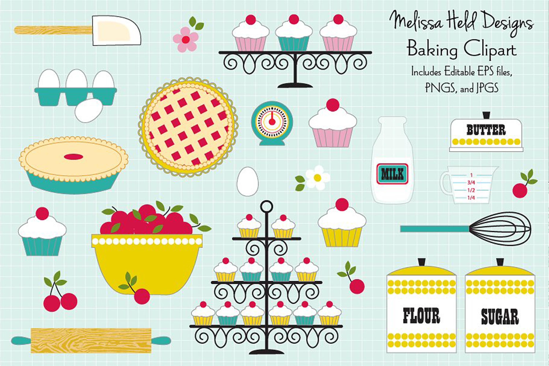 Retro Baking Clipart example image 1