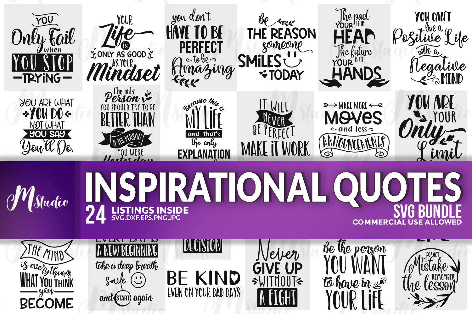 Inspirational Quotes svg Bundle example image 1