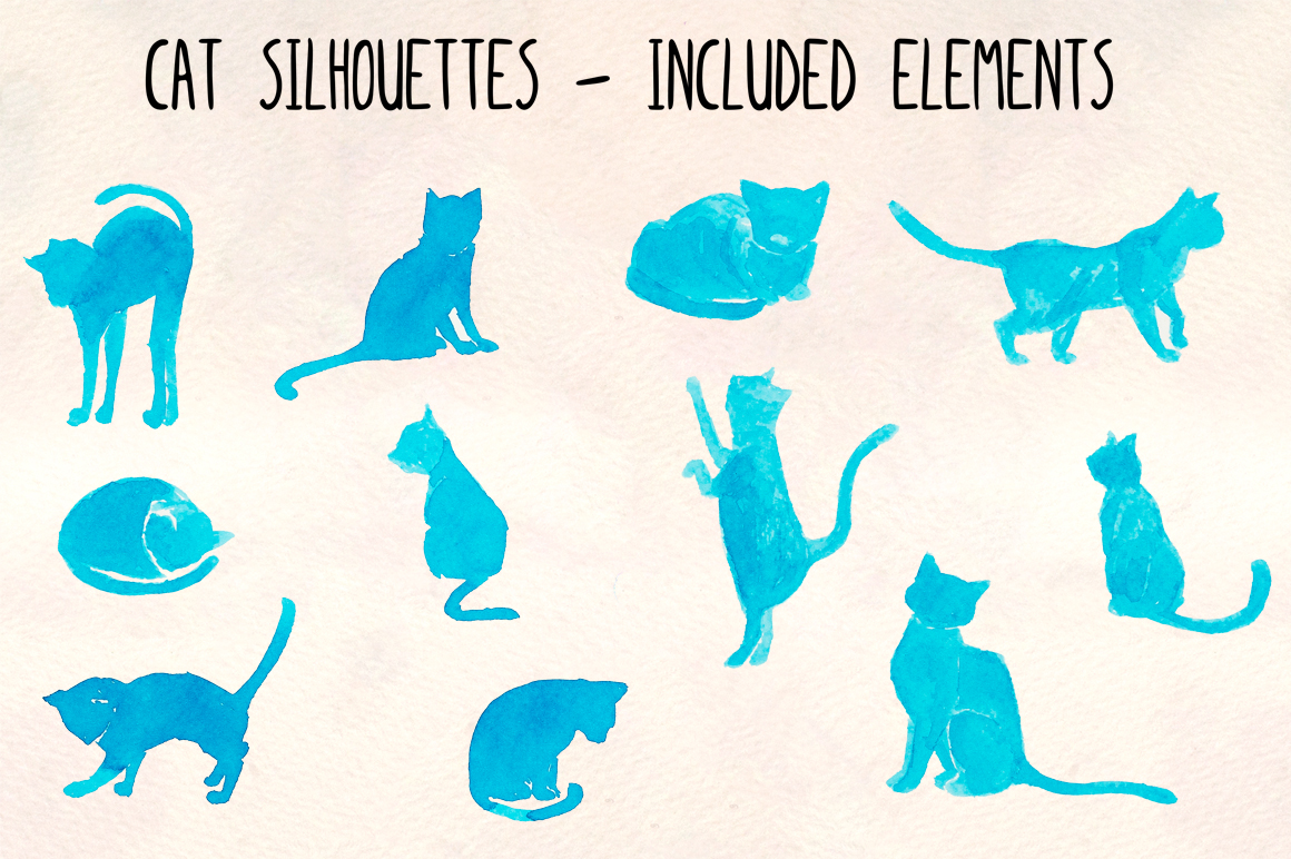 11 Blue Cat Silhouette Watercolor Graphics example image 2